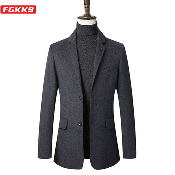 FGKKS Men Business Wool Blends Coat Casual Brand Men's Simple Slim Fit Coats High Quality Male Solid Wool Coats