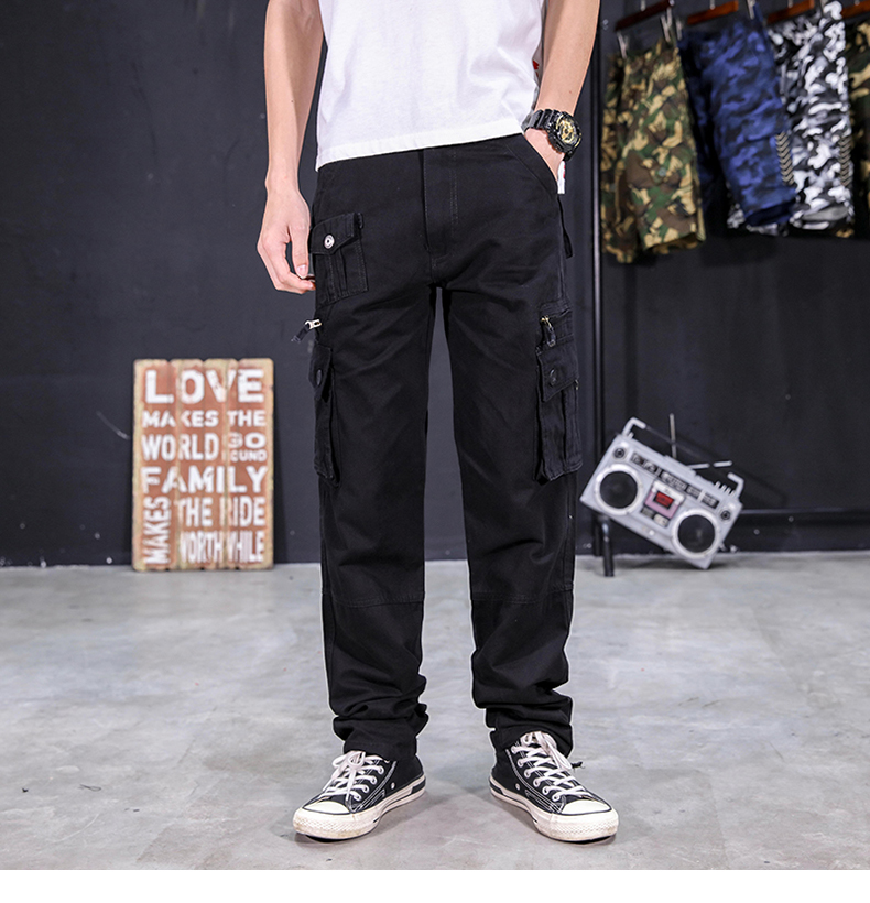 KSTUN Men's Cargo Pants Multi-pockets Baggy Side Zippers Men Cotton Pants Casual Outdoors Overalls Tactical Trousers Loose Male Pants 19