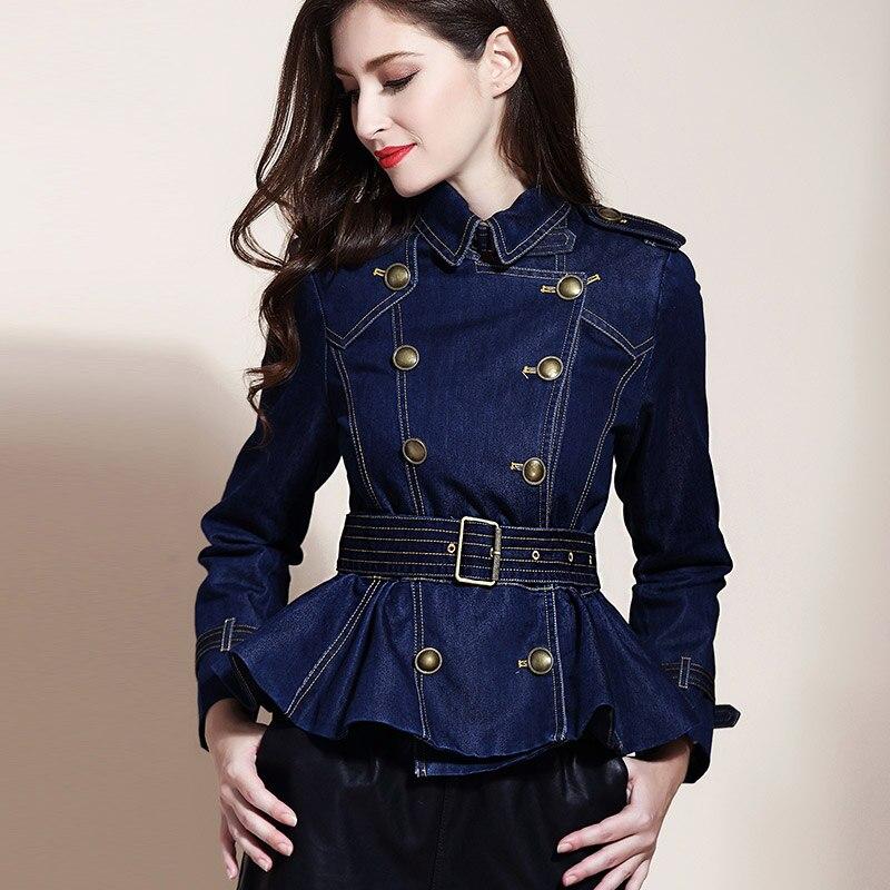 Весенне осенняя модная женская одежда, двубортная джинсовая куртка с оборками и поясом, джинсовые пальто и куртки для женщин
