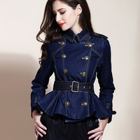 Spring Fall Fashion Womens Clothes Ruffles Sash Epaulet Double Breasted Denim Jacket Coat , Jean Coats and Jackets for Women