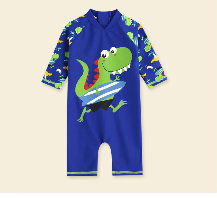 Bathing Suit Sun-resistant Girls BOY'S Baby Swimming Trunks One-piece Long Sleeve Infants 1-3 Years Old Dacron Children Warm Swi
