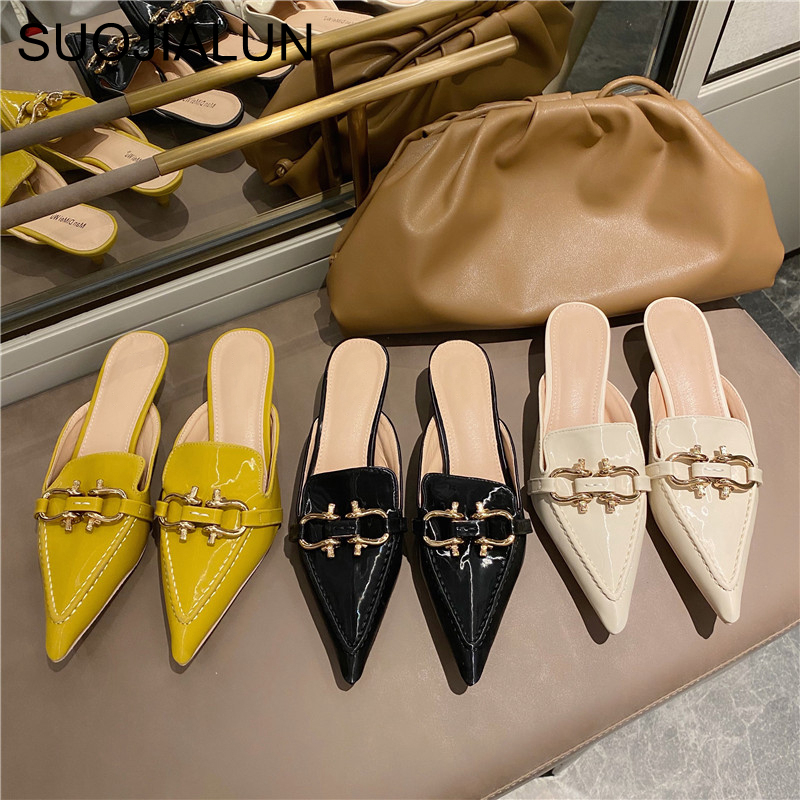 SUOJIALUN Women Mules Slipper Metal Buckle Decoration Low Heels Slides Slippers Slip On Pointed Toe Sandal Shallow Pumps