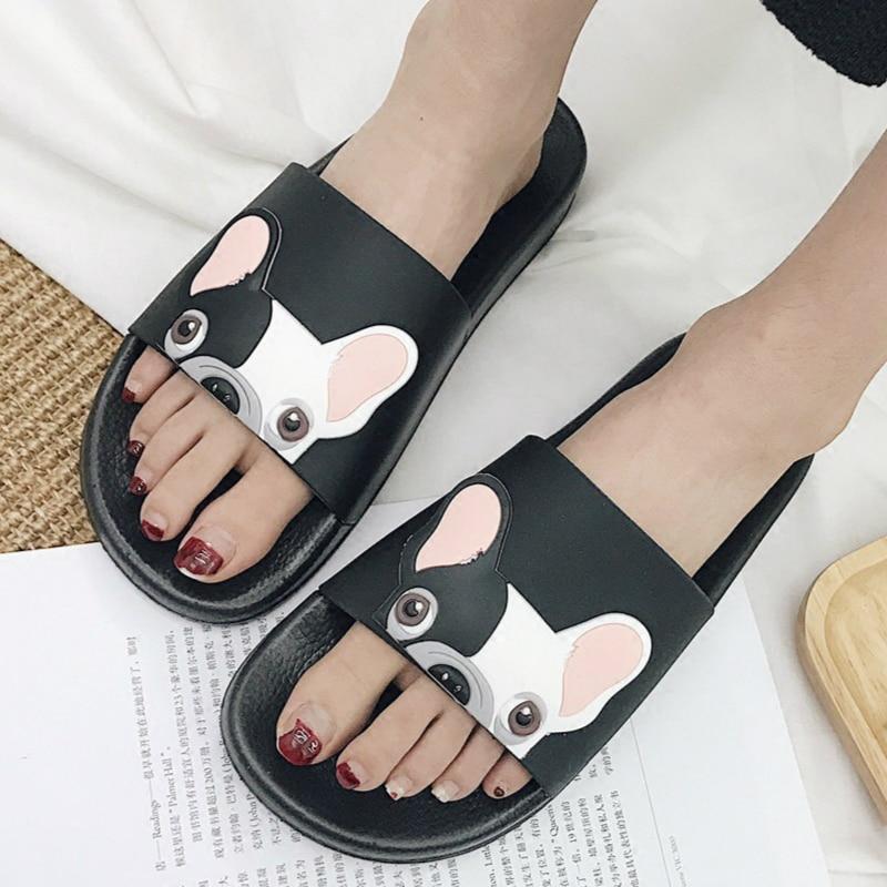 Summer Women Slippers Cartoon Bulldog Sandals Flat Comfortable Beach Slides Cute Funny Bathroom Floor Home House Shoes