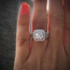 14K białe złoto pierścionek z brylantem dla kobiet plac Anillos Bizuteria ślub Bague Diamant kamień biały Topaz biżuterii pierścień dziewczyna