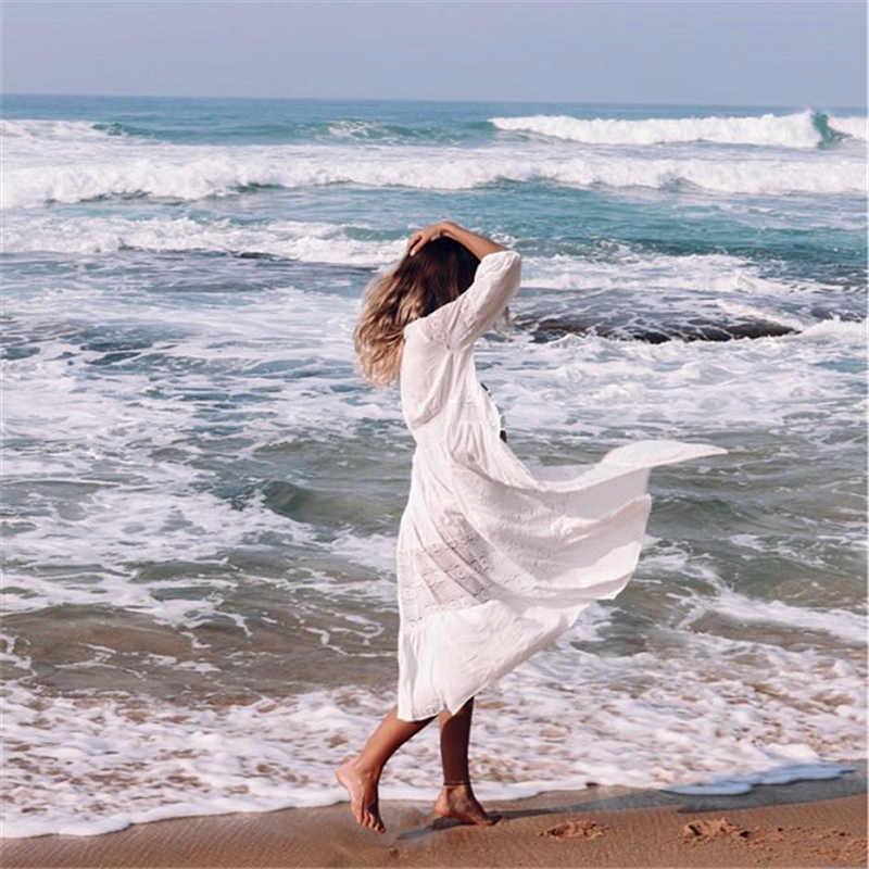 Хлопковый пляжный накидка, кафтан саронг, купальный костюм, кружевная накидка, Пляжное парео, купальный костюм, накидка, женская одежда для плавания, Пляжная туника # Q561