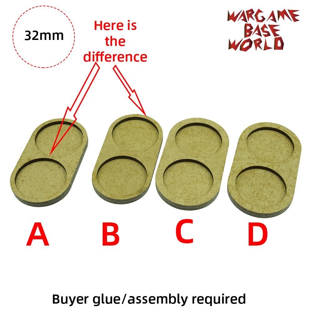 Wargame <font><b>Base</b></font> World - Movement Tray - 2 <font><b>round</b></font> <font><b>32mm</b></font> - 4 sets line shape image