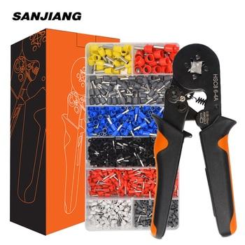 HSC8 6-4A ferrule Crimping Pliers 0.25-10MM² wire crimper tool Wire Stripper Hand Ferrule Crimp set Plier KIT With1200 Terminals