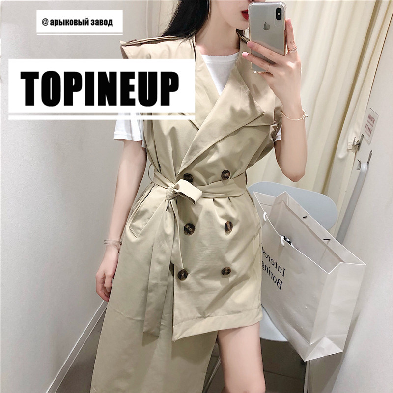 Korean Irregular hem Casual Windbreaker Irregular Vest Temperament Female   Trench   Coat With Belt Sexy Women Coats Solid Khaki