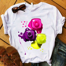 2020 Women 3D Finger Nail Paint Color Cute Fashion Printed Lady T-shirts Top T Shirt Ladies Womens Graphic Female Tee T-Shirt