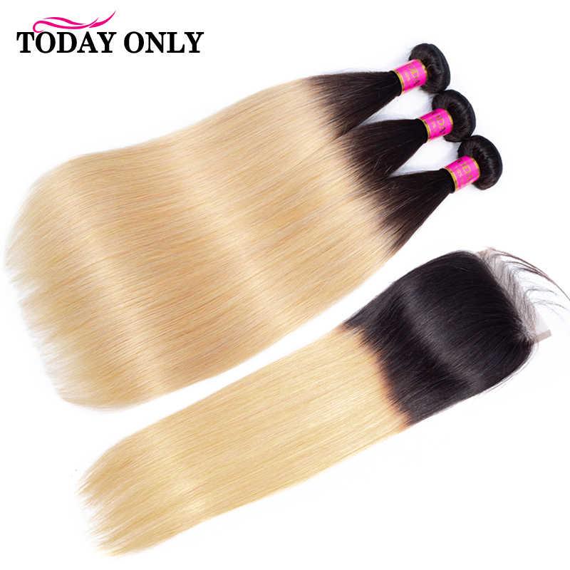 Hari Ini Hanya Lurus Rambut Bundel dengan Penutupan Ombre Bundel dengan Penutupan Rambut Pirang Peru Rambut Bundel dengan Penutupan Remy 1B/ 27