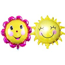 Smile Face Balloons Happy Birthday Decoration Balloons Summer Balloon Child Sunflower Foil Balloon Lol House Air Ballons Cheap(China)