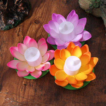 6pcs 11.5cm Flower Floating Lights LED Night Light for Pond Pool Festival Party