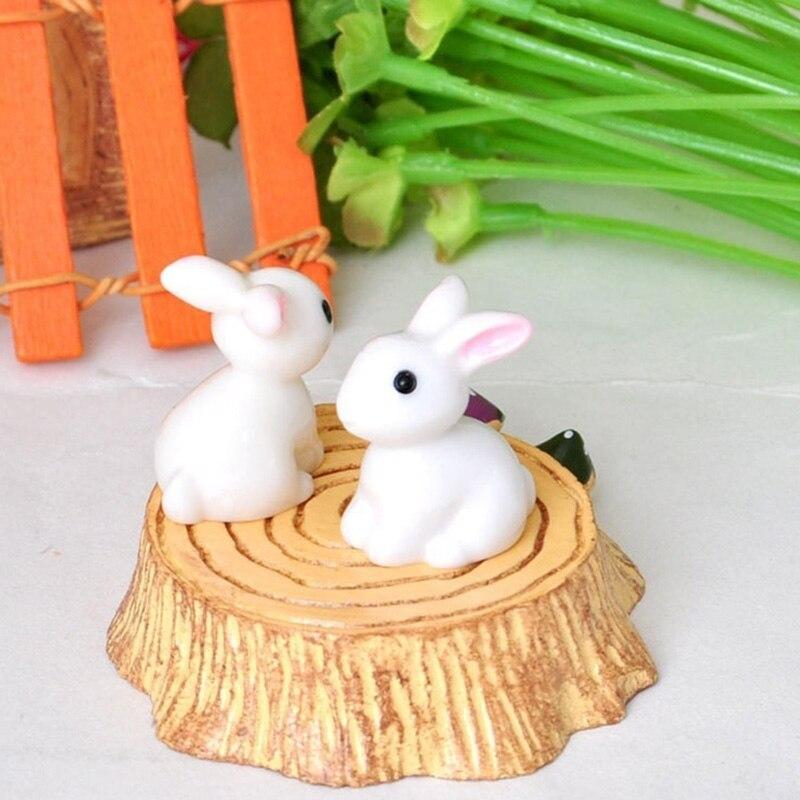 Миниатюрный садовый мини-кролик из смолы, 10 шт., сказочное украшение, цветочный горшок, домашняя статуя, украшение для животных