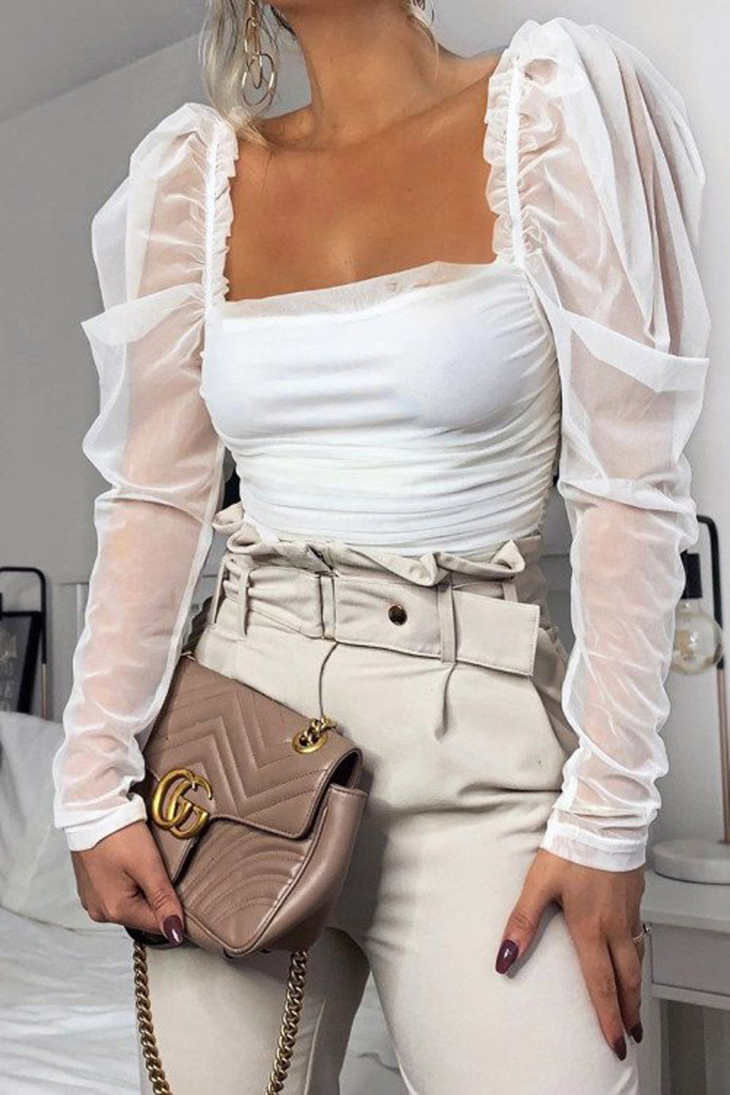Womens T Shirt Casual Top Solid Mesh Patchwork Puff Sleeve T-Shirts Off Shoulder Sexy Tops Ruched T Shirt