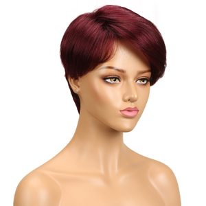 Image 4 - Trueme Pixie Cut Wig For Black Women Brazilian Remy Straight Human Hair Side Part Ombre Full Short Wigs Fashion On Sale