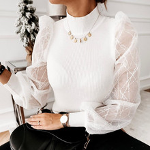 Women Tshirt Perspective Mesh Puff Sleeve Tops Shirt High Collar Shiny Top Women