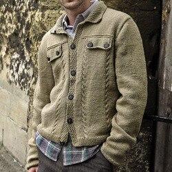 Cool hommes hiver pull bouton up grande taille homme décontracté haut tricoté automne à manches longues tricots veste manteau mode hommes chandails