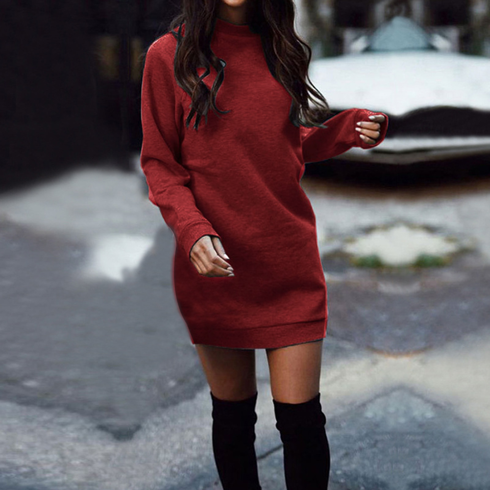 New Fashion Sexy Women Baggy Knitted Long Sweater Mini Dress Jumper Winter Loose Pullover Dresses