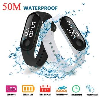 50M wodoodporny zegarek męski LED Sport cyfrowy zegarek kobiet Fitness zegarek z ekranem dotykowym silikonowy pasek do zegarka dla dzieci
