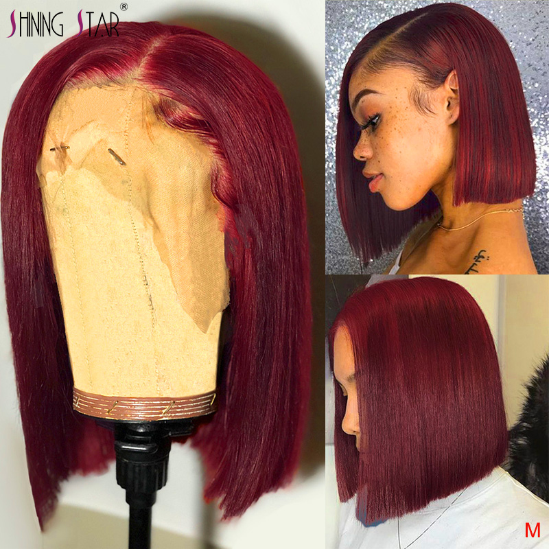 Straight Burgundy Bob Lace Front Wigs 99J Lace Front Human Hair Wigs Brazilian Pre-Plucked With Baby Hair Shining Star Remy 150