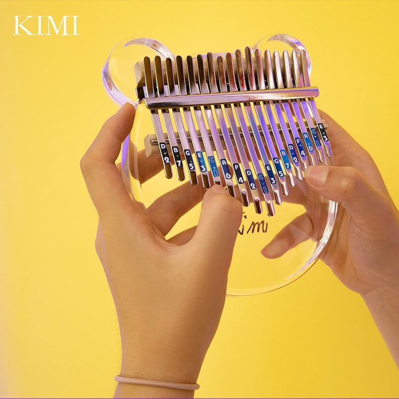 kimi kalimba 17 key thumb piano transparent crystal finger piano kalimba beginner Acrylic Thumb Piano 17-key