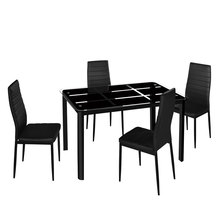 Dining-Table-Set And Assembled Stripping-Texture Tempered-Glass Elegant High-Backrest