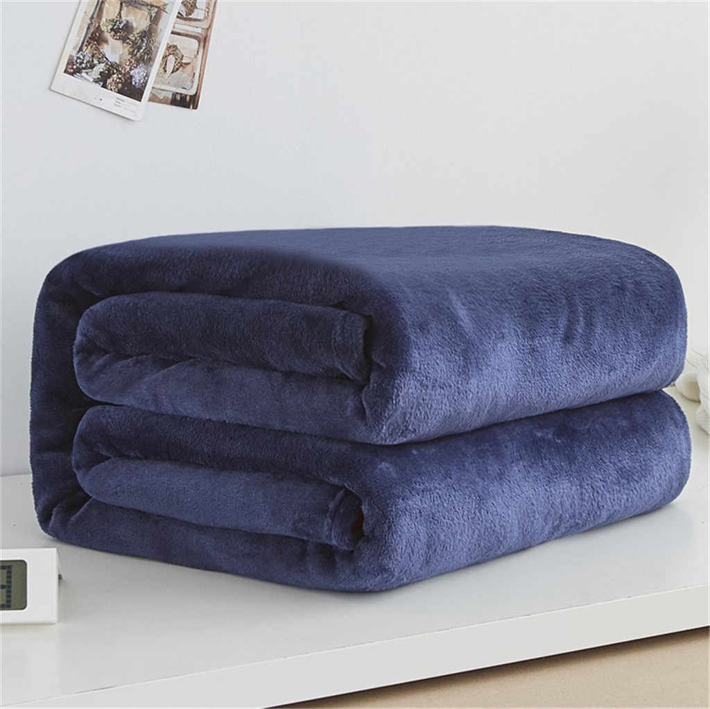 Soft Warm Coral Fleece Flannel Blankets For Beds Faux Fur Mink Throw Solid Color Sofa Cover Bedspread Winter Plaid Blankets #BL1