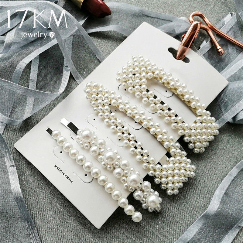 2020 New Fashion Simulated-pearl Barrette Hair Clips For Girls Geometric Hair Accessories Hair Clip Set Female Wedding  Jewelry