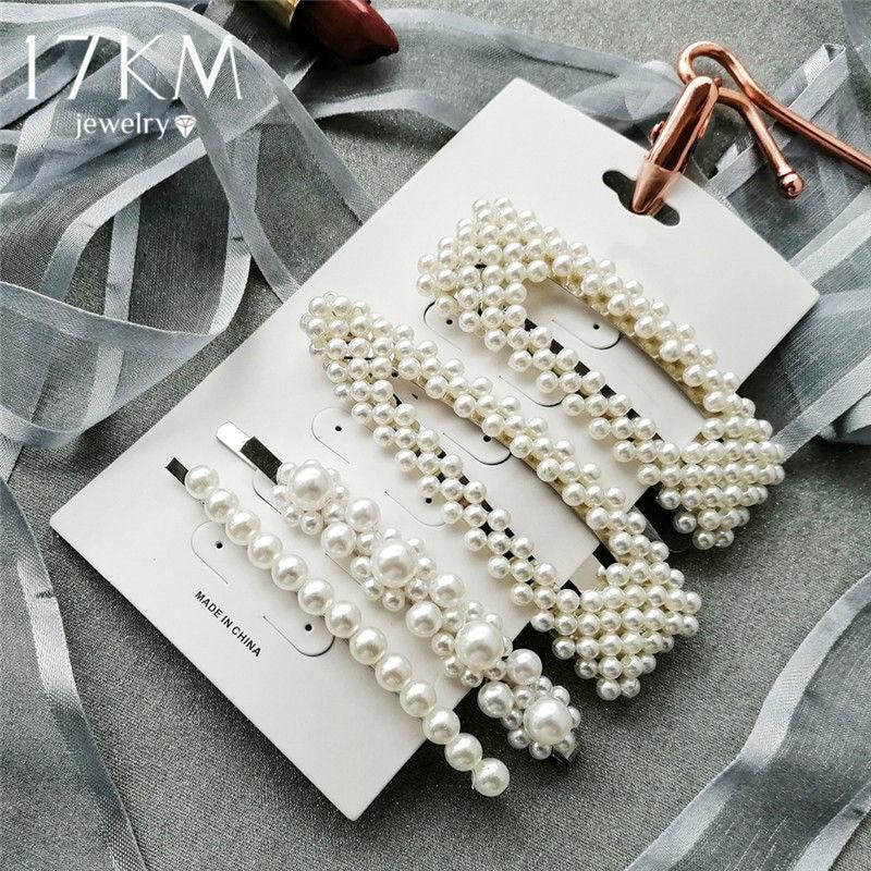 2020 New Fashion Simulated-pearl Barrette Hair Clips For Girls Geometric Hair Accessories Hair Clip Set Female Wedding  Jewelry