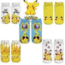 Короткие носки Покемон Пикачу для девочек и мальчиков хлопковые носки все размеры дышащие впитывающие пот Смешные Женские носки с японским...