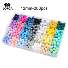 LOFCA Silicone Beads 12mm 200pcs Tie Dye Silicone Teething Beads Food Grade Silicone Baby Pacifier Necklace Pendant Making