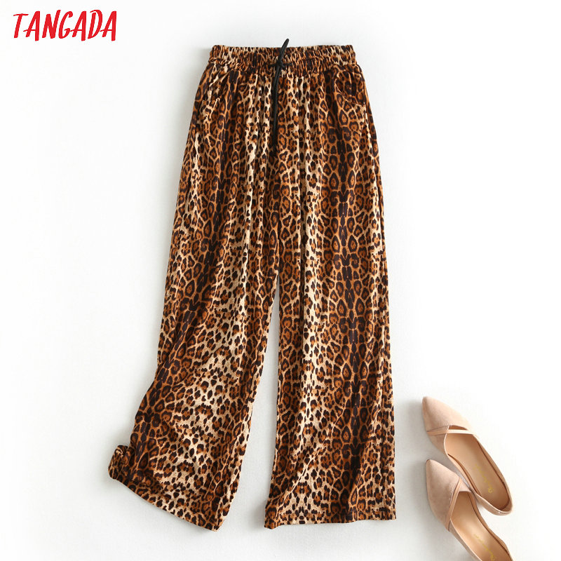 Tangada Fashion Women Leopard Wide Leg Pants Korean Style Long Trousers Strethy Waist Loose Female Pants BC63
