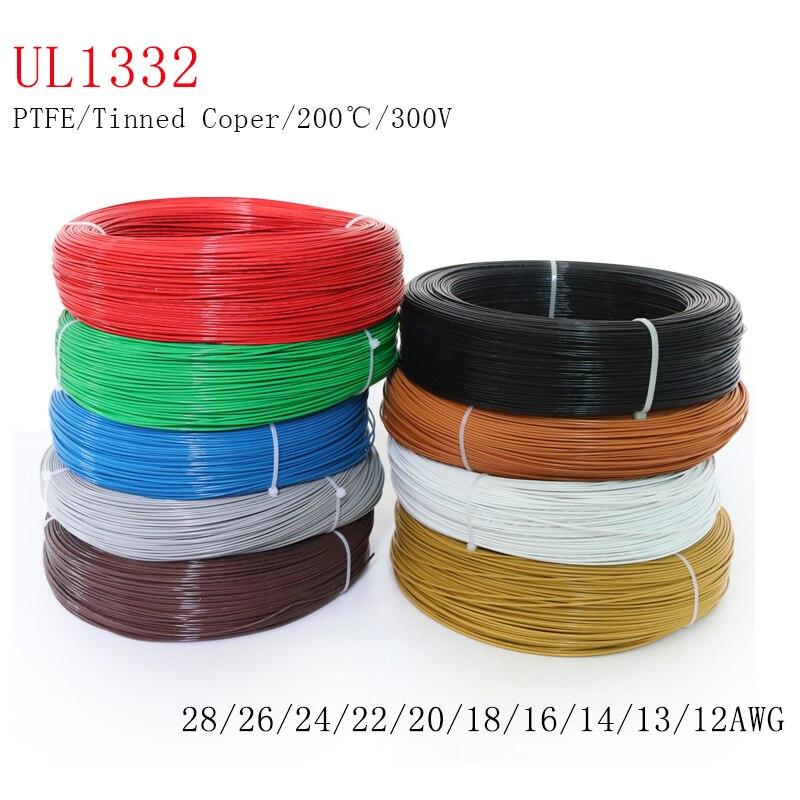 5/10m ul1332 ptfe fio fep plástico isolado de alta temperatura do cabo de elétron 300v 28/26/24/22/20/18/16/14/13/12awg