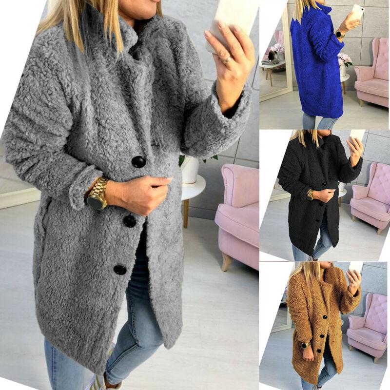 Long Coats Fleece Jackets Women Winter Warm Teddy Coat Cardigan Buttons Up Casual Solid Fashion Wool Blends Full Tops Overcoats
