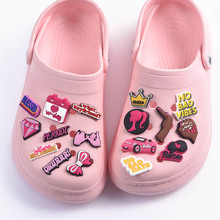 1 Pcs 2021 New Designer Women Croc Shoes Charms Girl Power Accessories Beauty Lipstick Queen Clog Shoes Make Up Pink Decoration