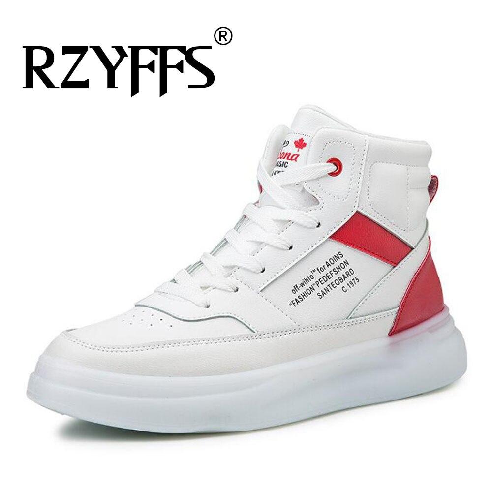 Мужские кроссовки дышащие белые туфли мужская кожаная обувь кроссовки Chaussure высокие кроссовки мужская повседневная обувь A54 44 на шнуров... - 6