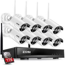 ZOSI système de vidéosurveillance sans fil 8CH 1080P, NVR, 8 pièces, pour lextérieur P2P, Wifi IP, système de sécurité, Kit de vidéosurveillance