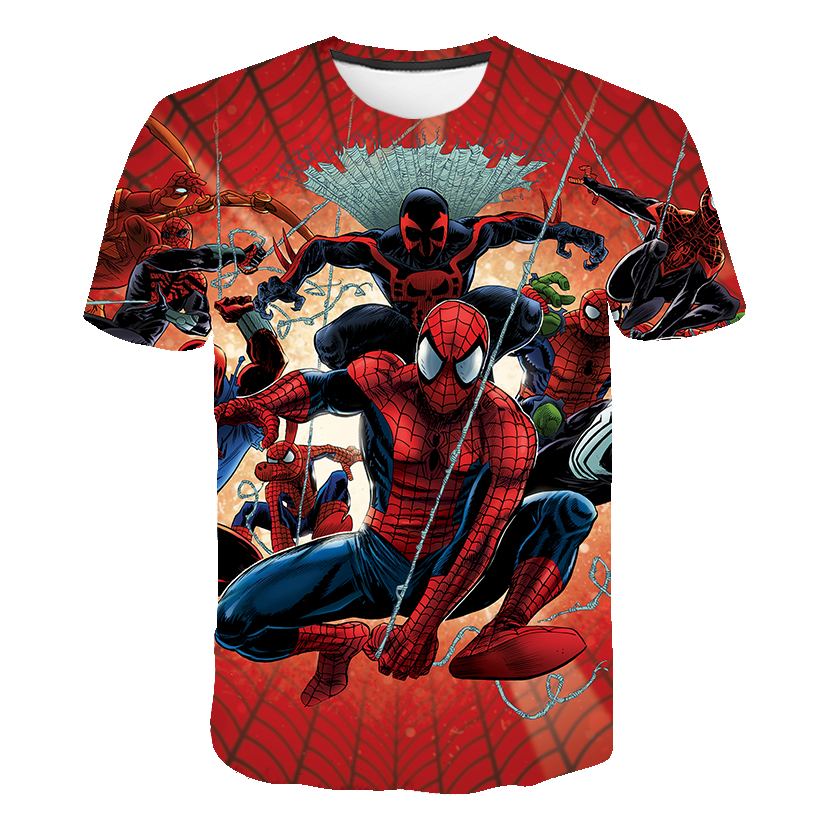 Baby Boys T Shirts Boys Clothes Cartoon Spiderman Short Sleeve T-shirt Child Clothes Summer Spring Kids Clothes Children Top Tee