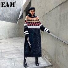 [EAM] женское трикотажное платье с разрезом, большой размер, новинка, круглый вырез, длинный рукав, свободный крой, мода, весна-осень, 19A-a223