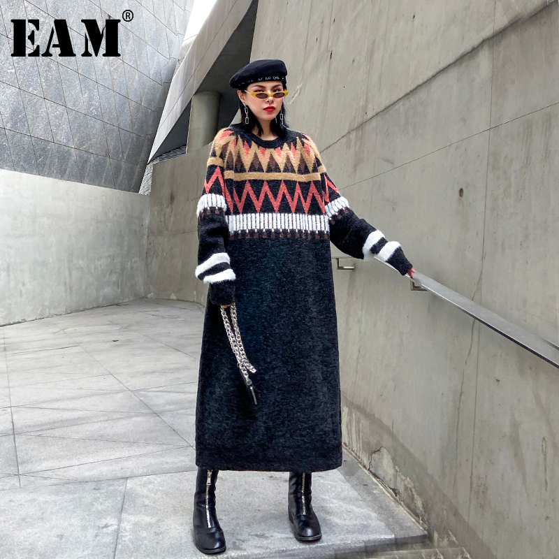 [EAM] Women Pattern Split Big Size Knitted Dress New Round Neck Long Sleeve Loose Fit Fashion Tide Spring Autumn 2020 19A-a223