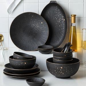 Phnom penh utensílios de cozinha do agregado familiar europeu criativo placa bife preto cerâmica pratos colher tigela prato talheres conjunto