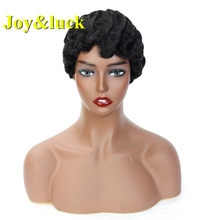 Joy&luck Short Curly Wig Pixie Cut Wigs for African American Finger Wave Synthetic Blonde Hair Wig Cosplay(China)