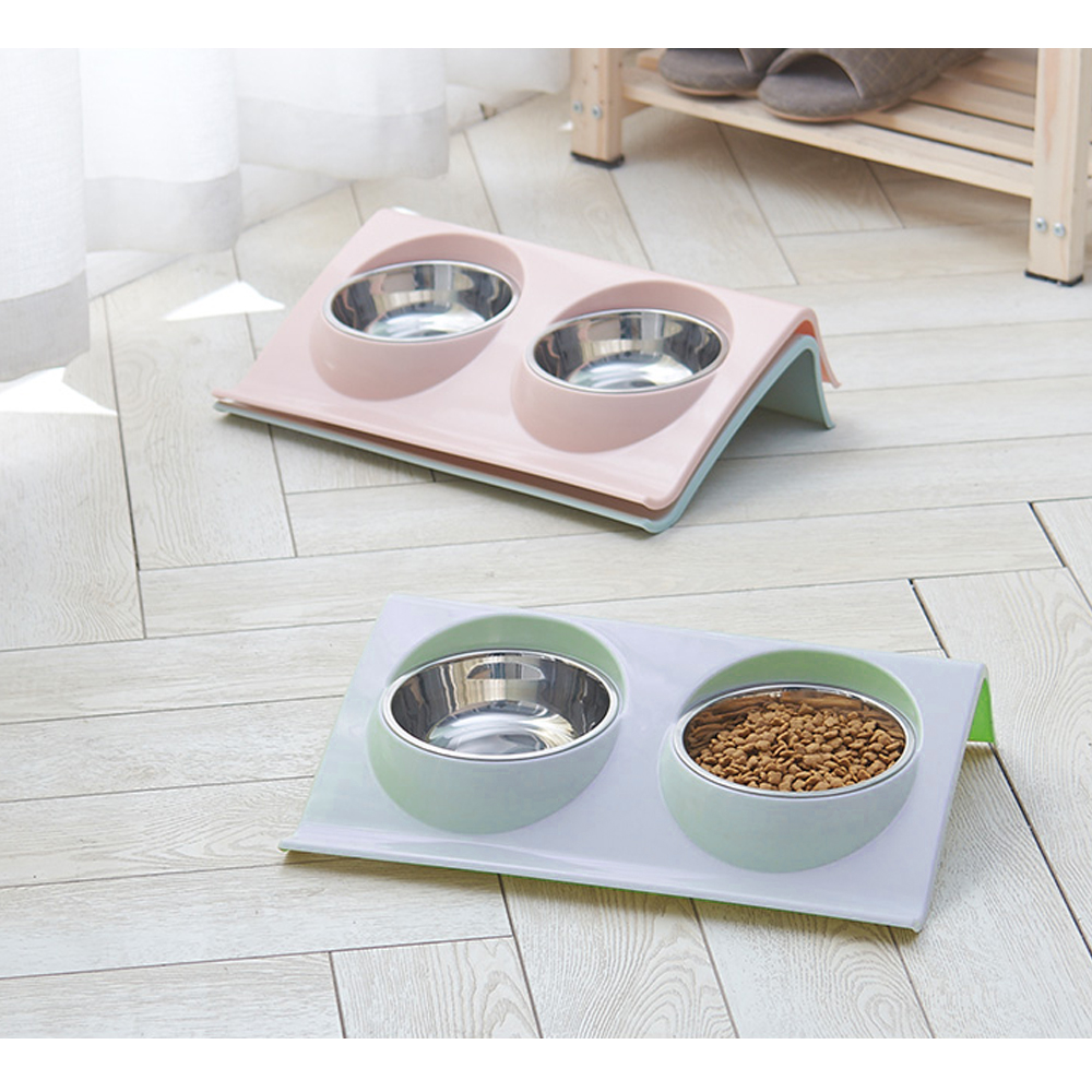 Stainless Steel Double Dog Cat Bowls Splash-proof Pet Food Water Feeder For Dog Puppy Cats Pets Supplies Feeding Dishes Pet Bowl image