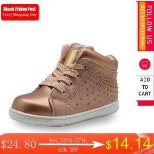 Image 1 - Apakowa marka yeni çocuk ayakkabı Pu deri çocuk ayakkabıları kızlar için bahar sonbahar kızlar ayakkabı ile kristal kemer desteği ayakkabı