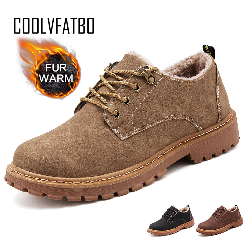 COOLVFATBO Autumn Winter Fur Shoes Men Boots PU Leather Casual Men Winter Boots Warm Plush For Cold Winter Male Ankle Botas