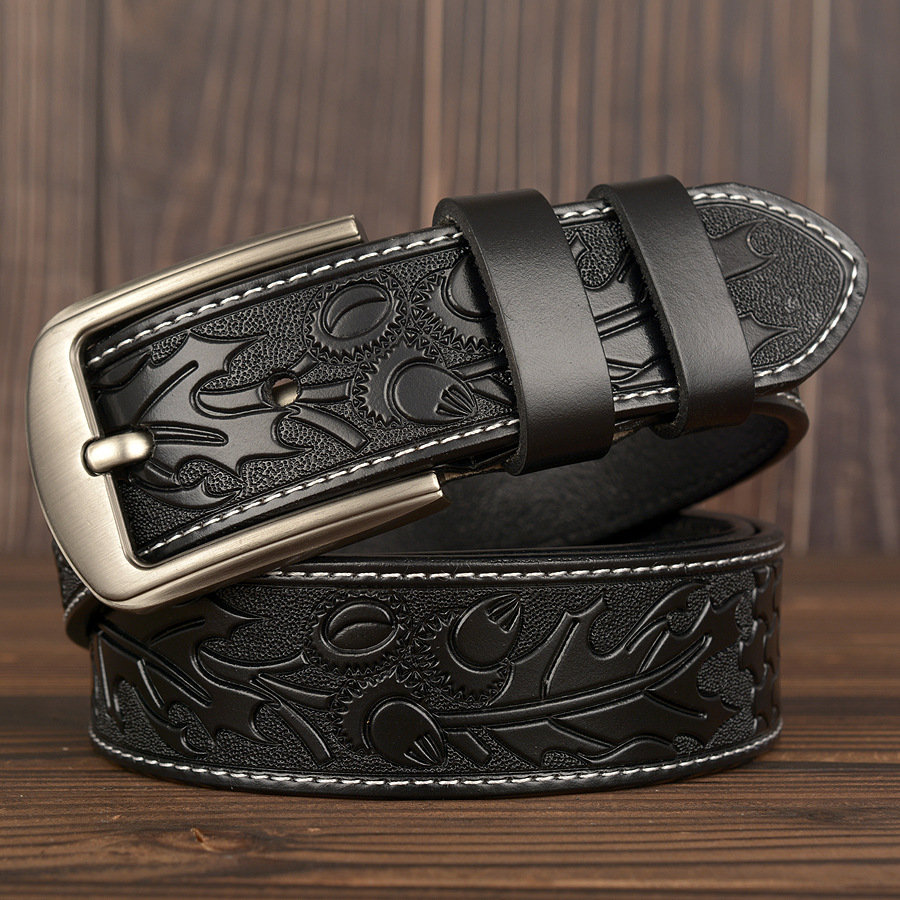 male belt for mens high quality cow genuine leather belts hot sale print pattern strap fashion new jeans pin Buckle