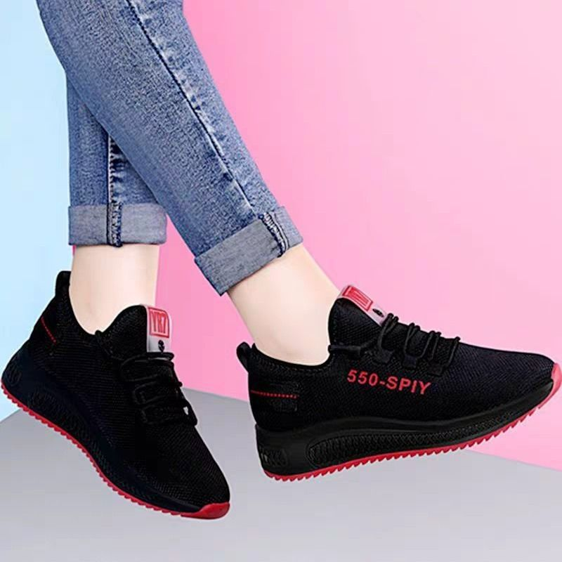 Black Women Sneakers Casual Mesh Walking Sport Shoes Outdoor Air Mesh Breathable Footwear Lace Up Running Shoes Ladies Sneakers