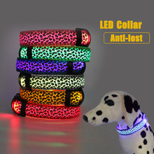 LED Night Light Dog Collar Safety Adjustable Nylon Pet Leopard Luminous 3 Modes Glowing Battery