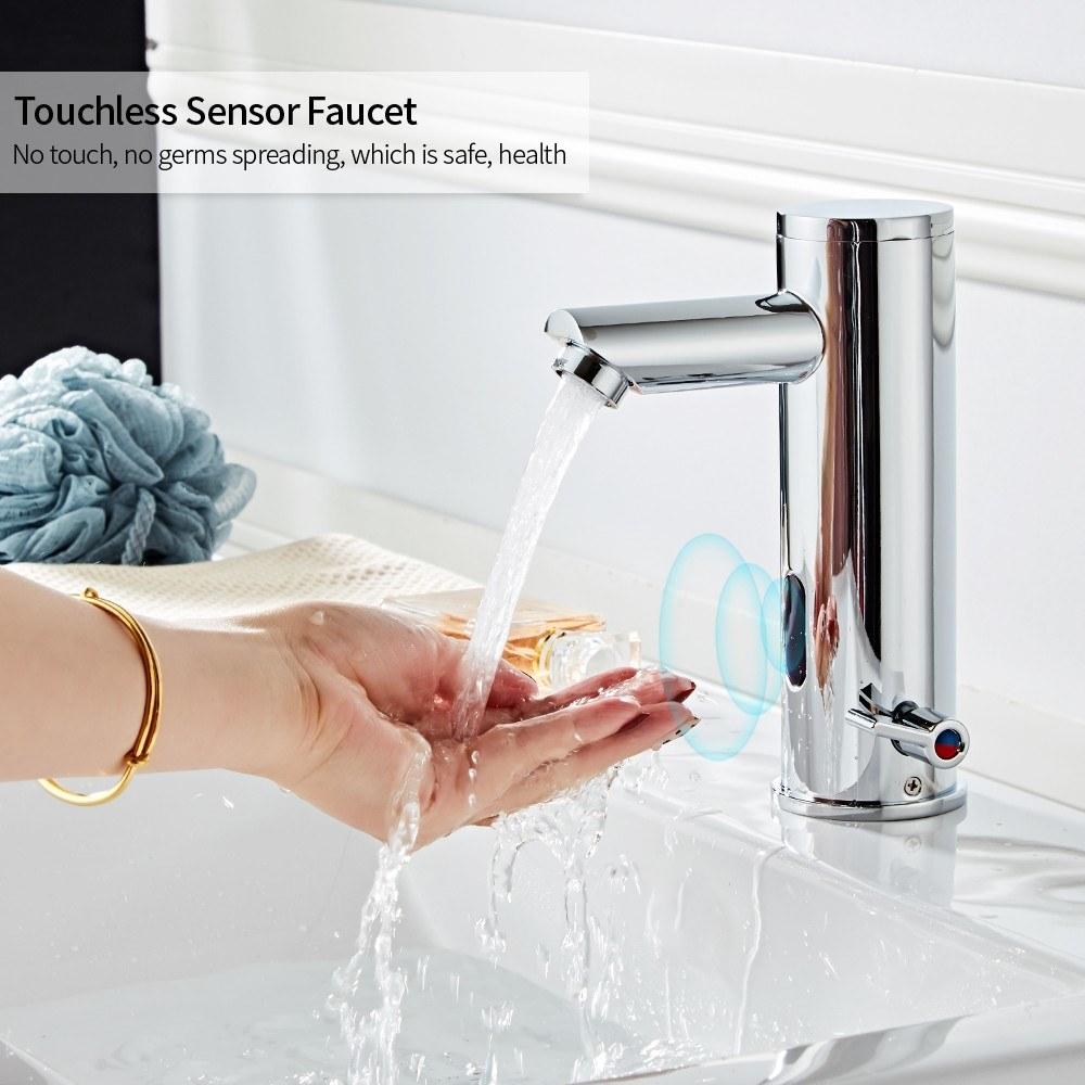 Induction Faucet Automatic Sensor Faucet Sensor Touchless Bathroom Faucet Non-Touch Faucet Copper Sink Tap Hot&Cold Mixer Faucet