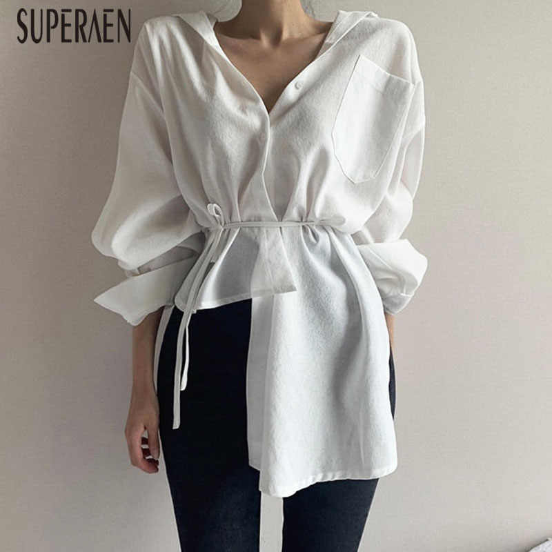 SuperAen Korean Style Women Shirts Lapel Single-breasted Solid Color Irregular Cotton Ladies Blouses and Tops Autumn New 2019